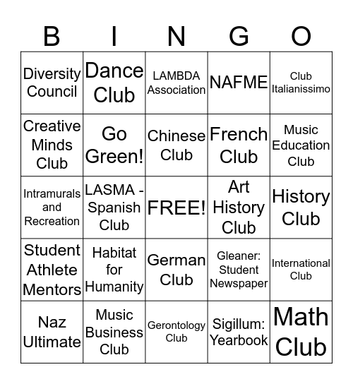 Involvment Fair Bingo Card