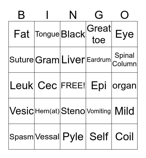 Sam's Bingo #1 Bingo Card