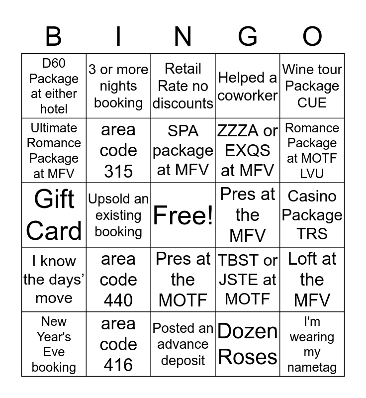 Reservations Bingo Fun! Bingo Card