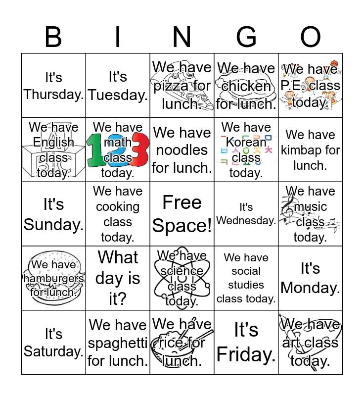Grade 4 Lesson 9: It's Saturday Bingo Card