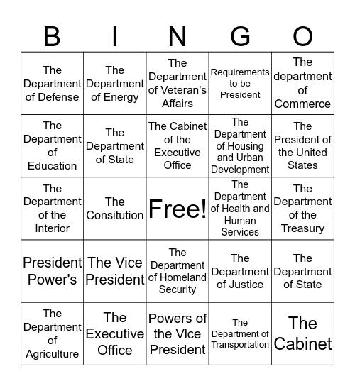Executive Branch Bingo Card