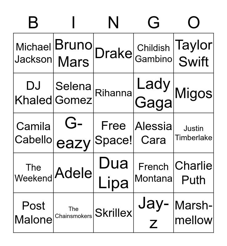 Choose the Artist! Bingo Card