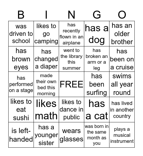 Somebody in this Class Bingo Card