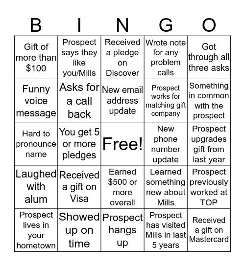 Mills College TOP Bingo Card