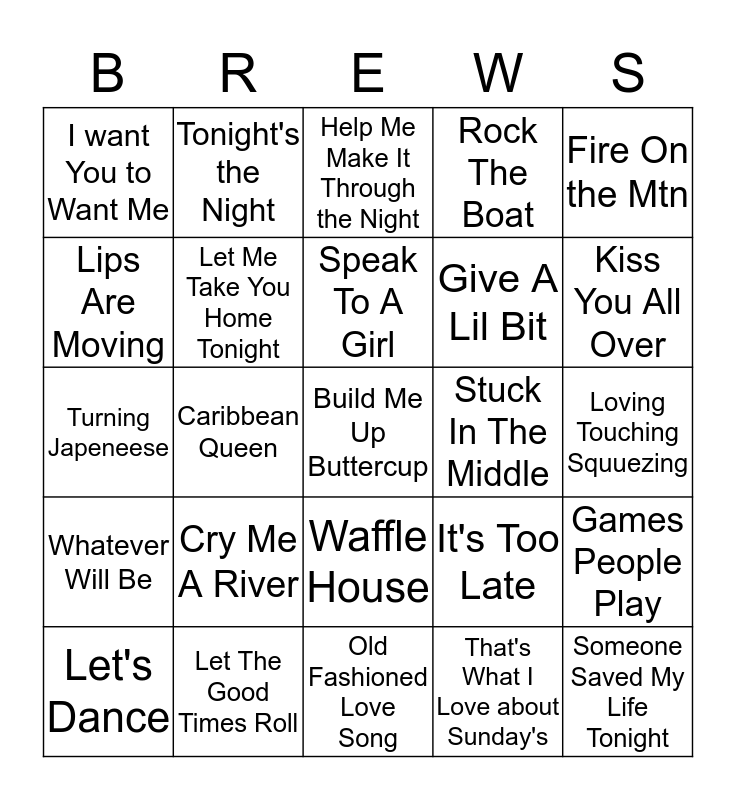 Boondocks Brews, Beats & Bingo Card