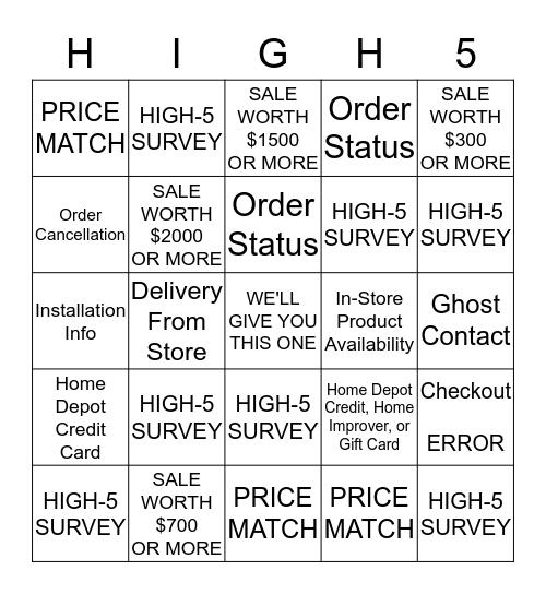 HIGH-5! BINGO - Day Three Bingo Card