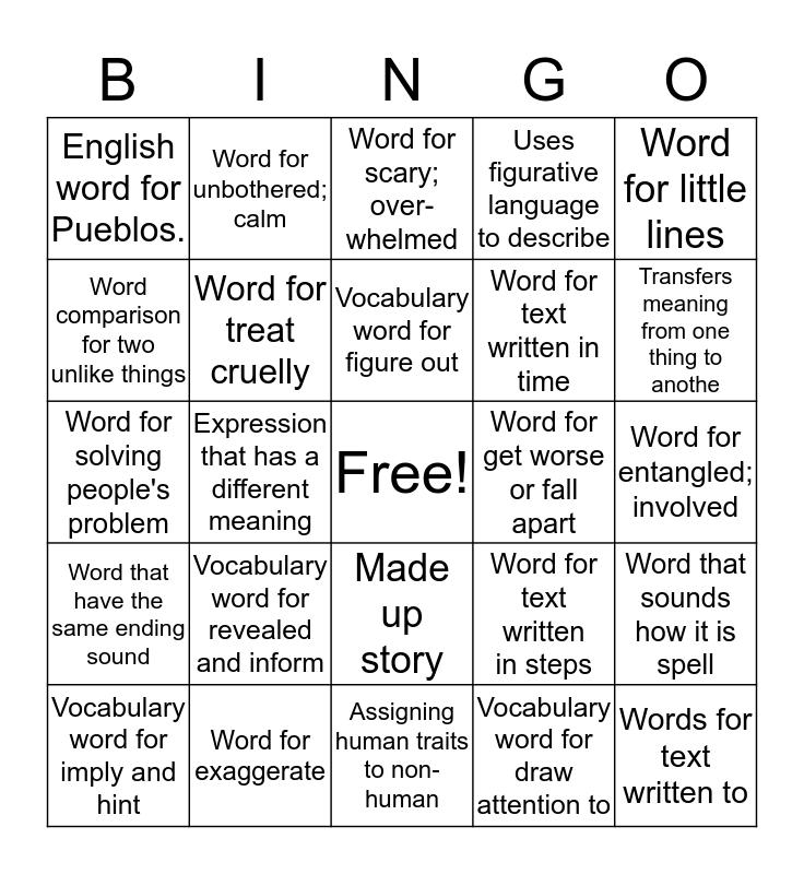 Vocabulary Bingo  Bingo Card