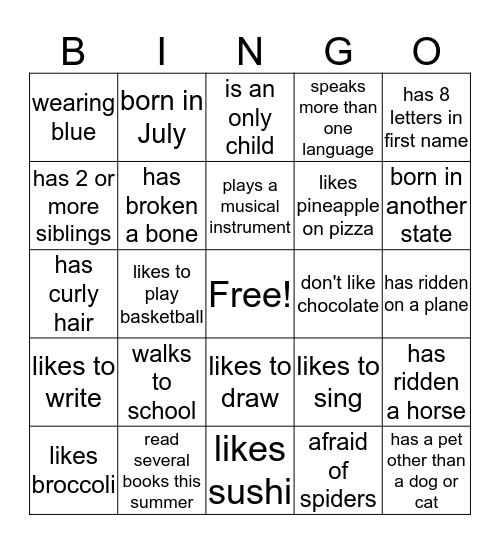 TEEN Bingo Card