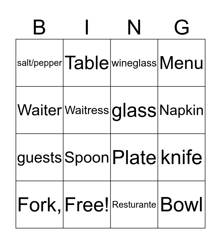 Bingo Dictionary Bingo Card