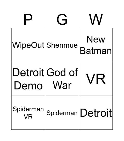 Ben's PGW Bingo Card