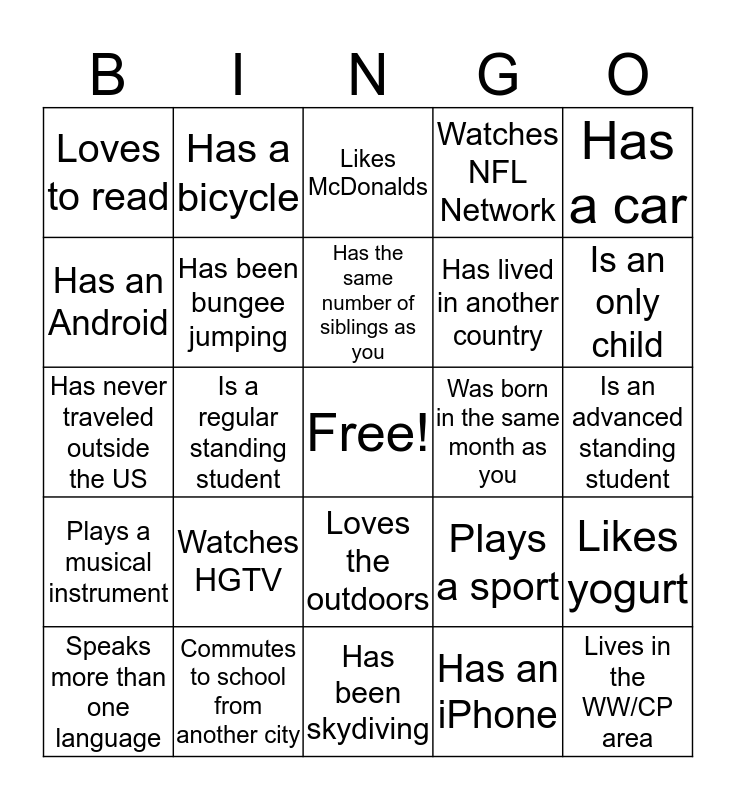 SOWK 510  Bingo Card