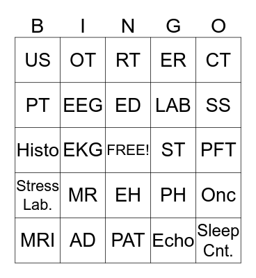 Hospital Departments Bingo Card