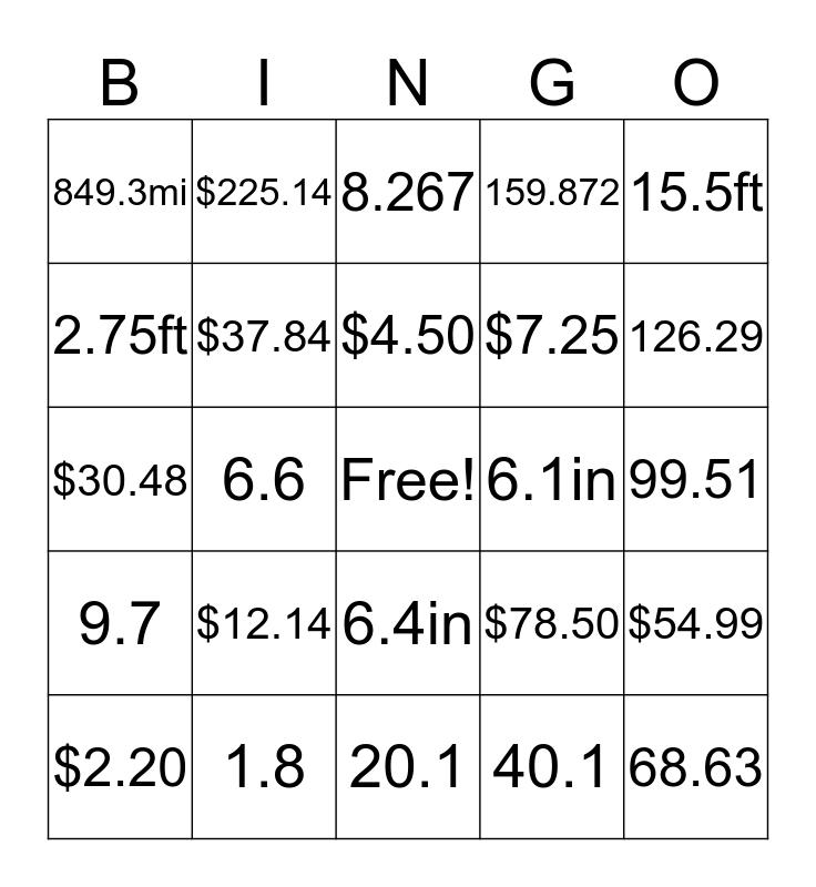 Adding/Subtracting Decimals  Bingo Card
