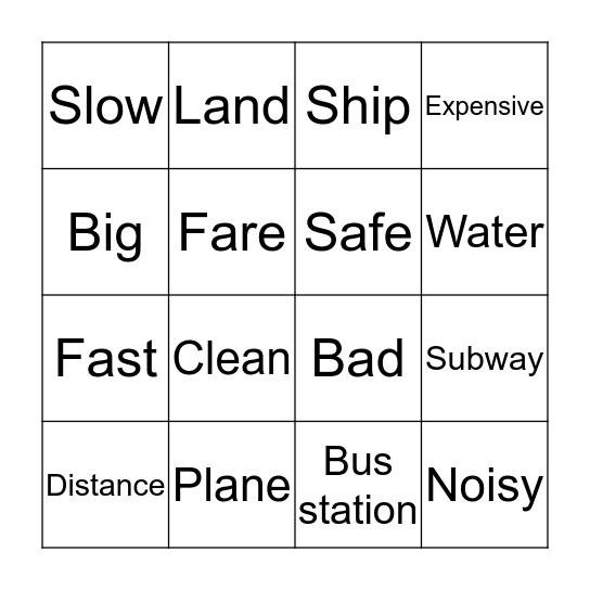Means of Transportation Bingo Card