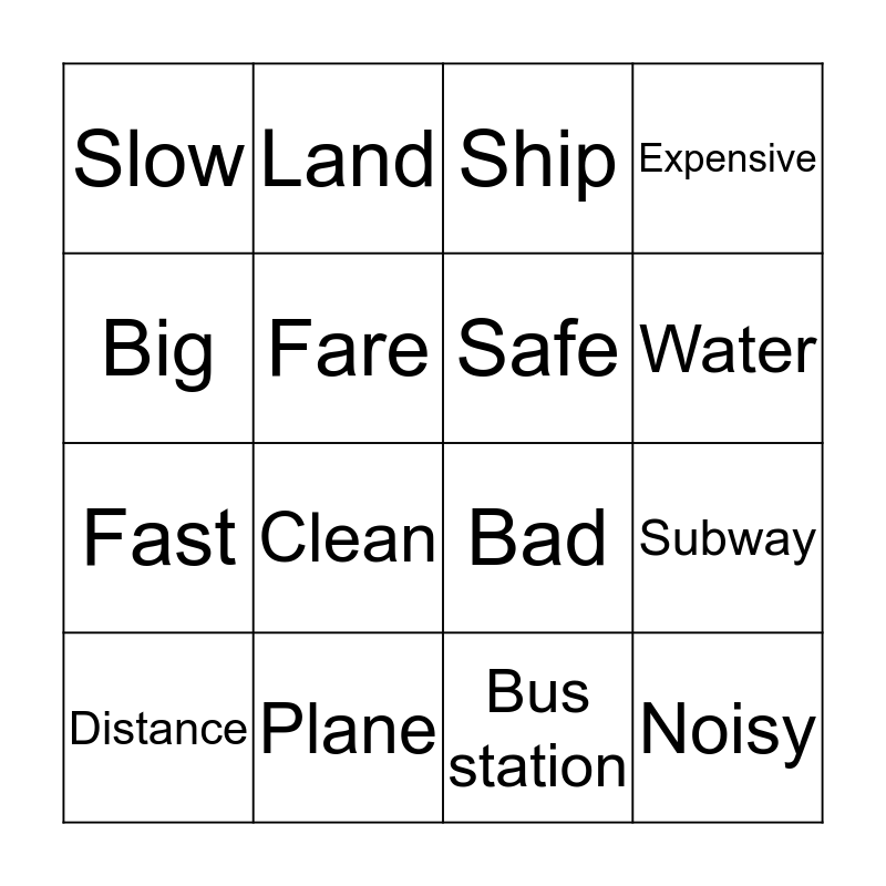 Means of Transportation Bingo Card