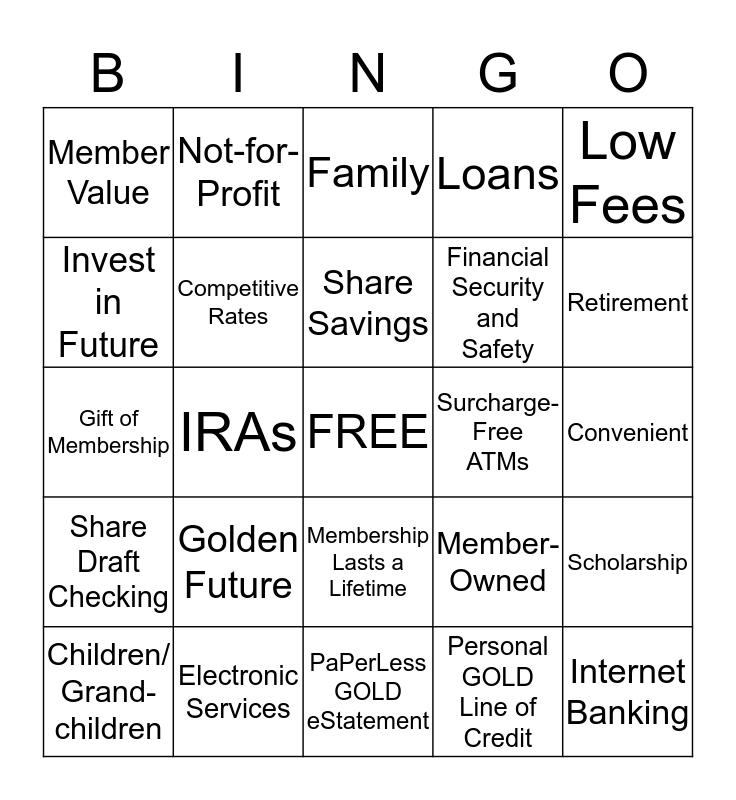 RETIREE Bingo Card