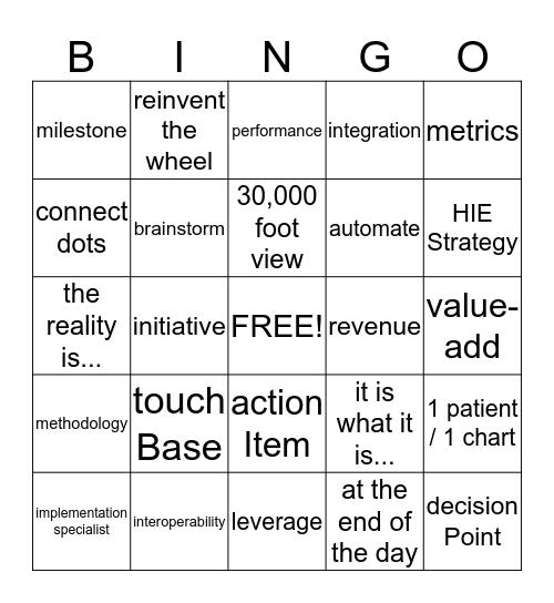 Information Systems Bingo Card