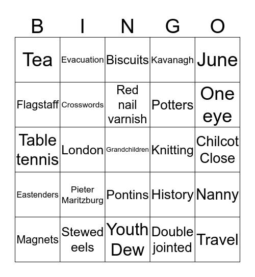 KAVANAGH Bingo Card