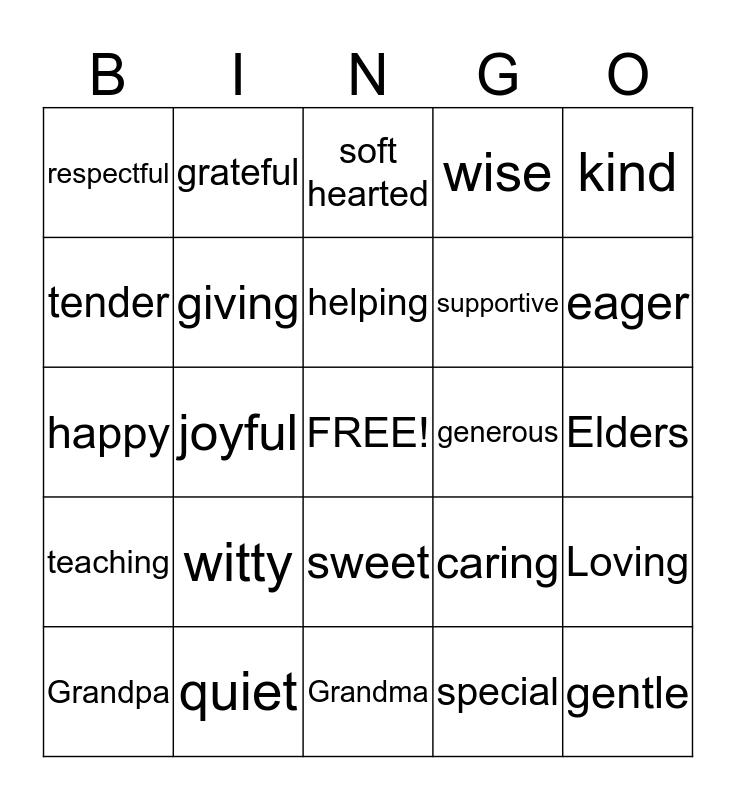 WISDOM OF THE ELDERS Bingo Card