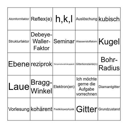 Seminar 4 Bingo Card