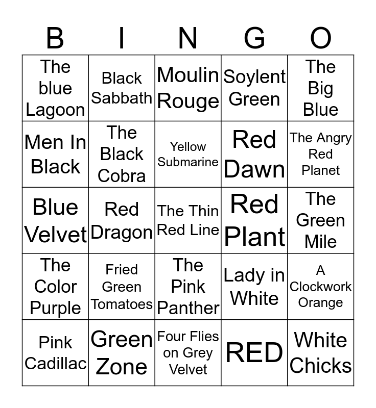 Movies with Colors in the Title Bingo Card