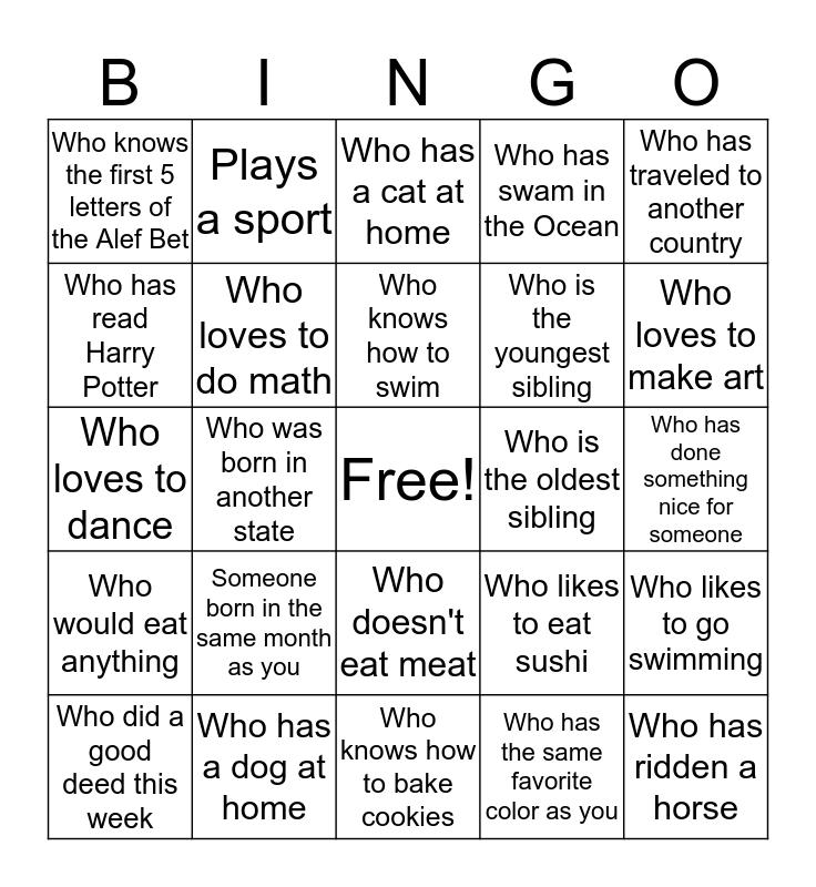 FIND SOMEONE IN THE CLASS Bingo Card