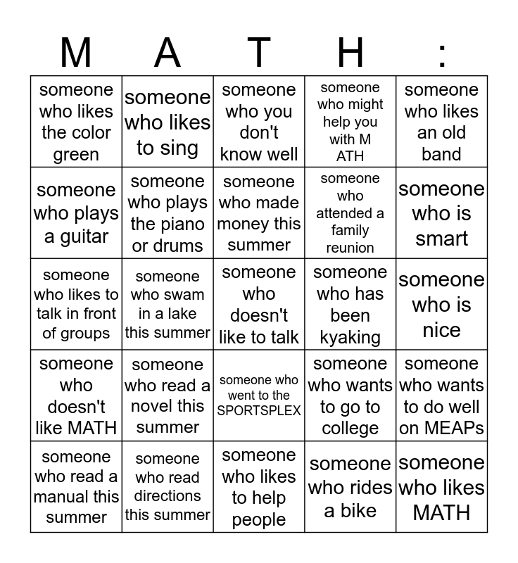 pre algebra mixer Bingo Card