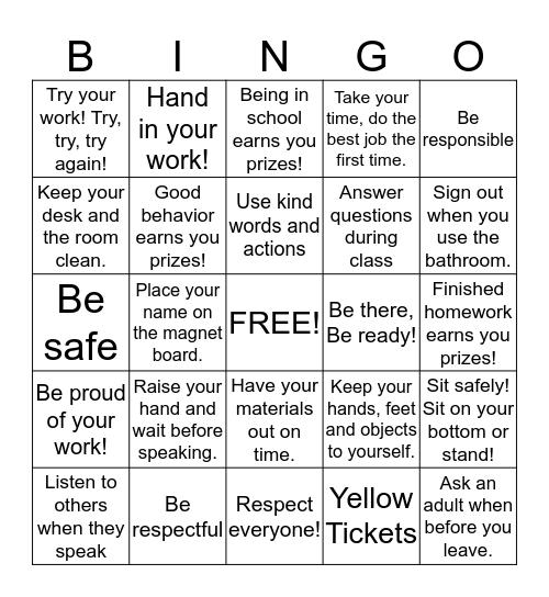 Rules Bingo Card