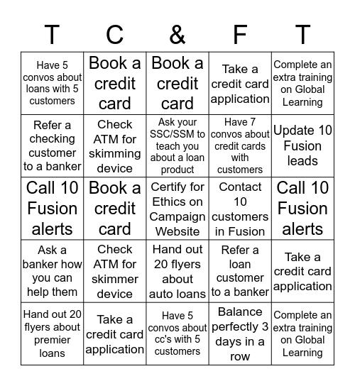 TC and Full Time Teller Bingo Card