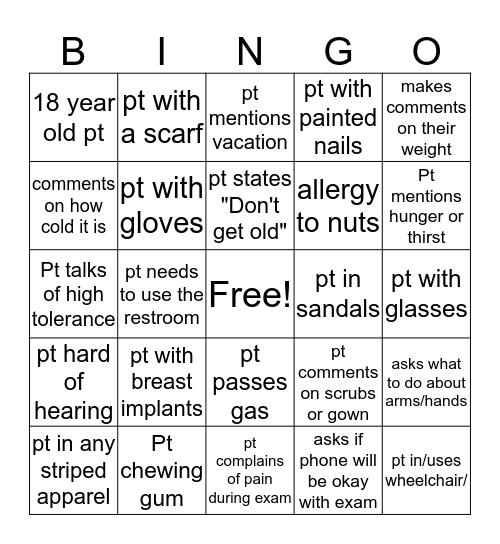 Imaging/Tech week Bingo Card