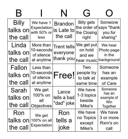 BS Call Bingo Card