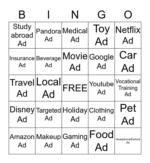 Advertising Bingo Card