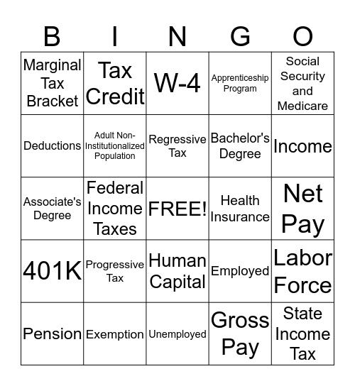 Earnings Power Bingo Card