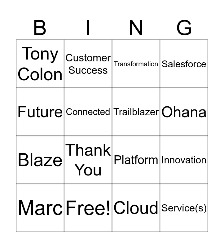 Success Cloud Bingo Card