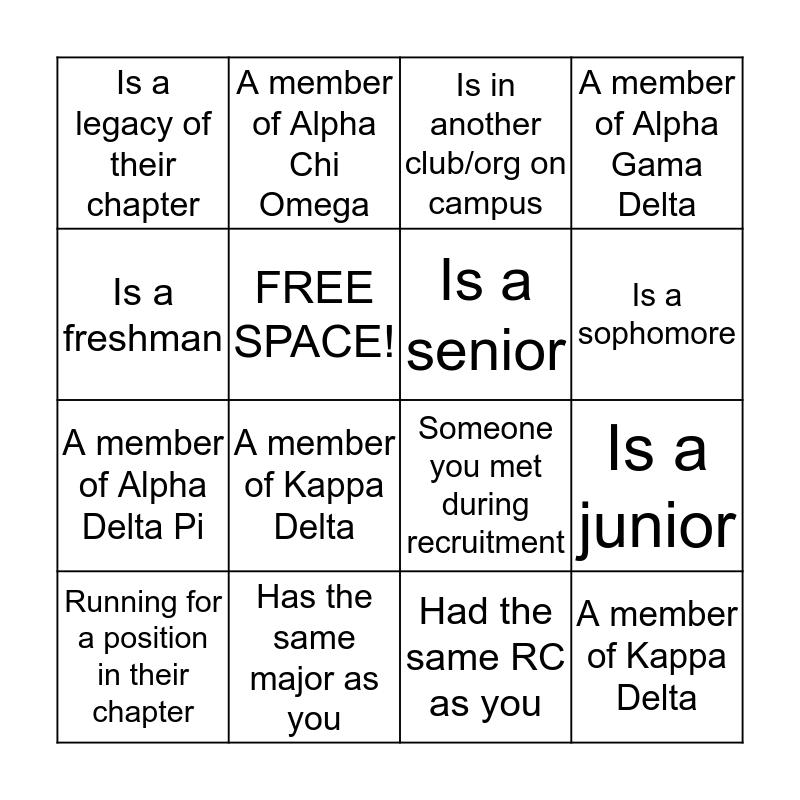 Panhellenic Bingo Card