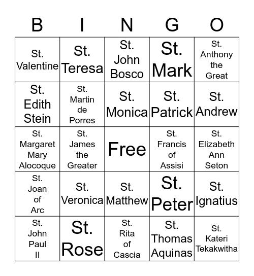 Saint Bingo Card