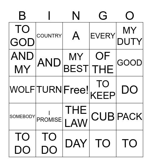 CUB PROMISE Bingo Card