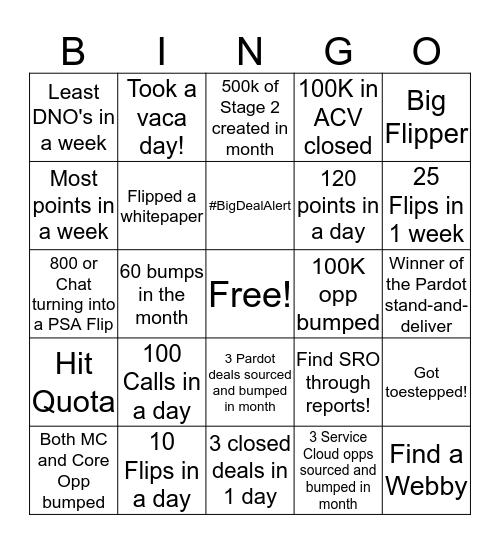 SDR Bingo Card