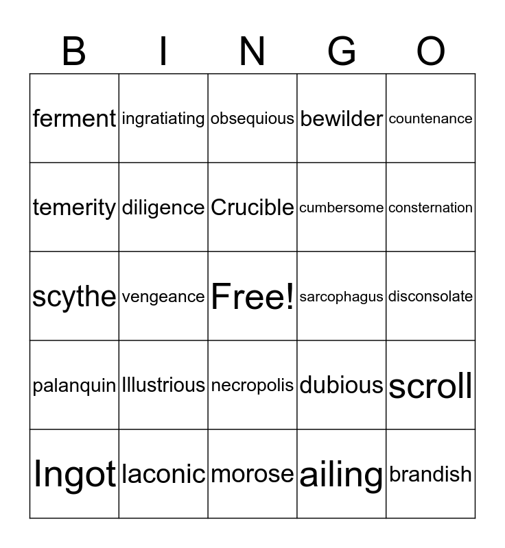 Golden Goblet Bingo Card