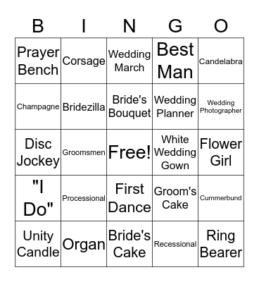 Things Not at the Mendenhall Wedding Bingo Card