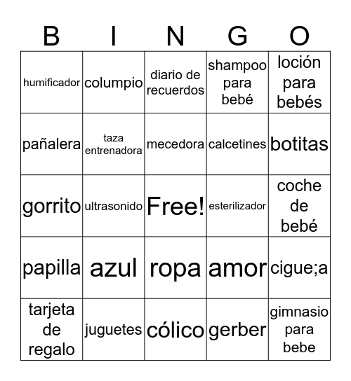BINGO BABY GAME Bingo Card