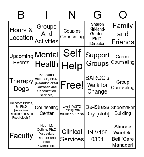 Counseling Center Bingo Card