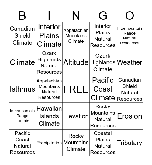 U.S. Regions and Vocabular Bingo Card