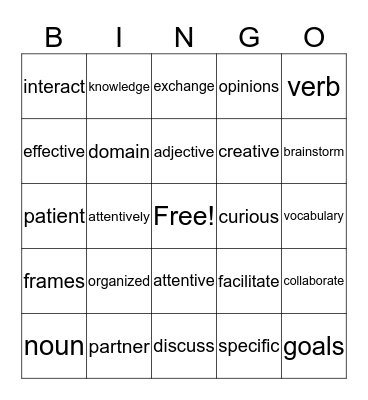 English 3D Bingo Card