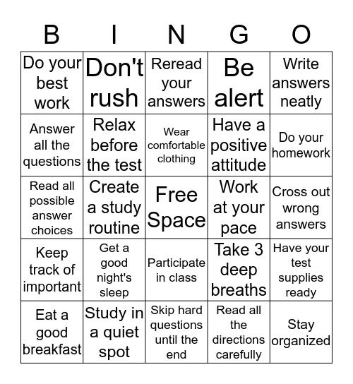 Study-Test Taking BINGO  Bingo Card