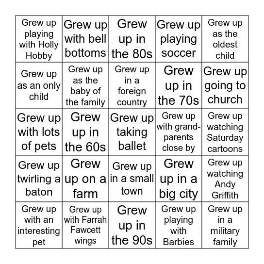 Growing Up in Him-------------------Find someone who... Bingo Card