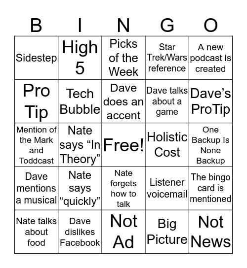 Notnerd Bingo Card
