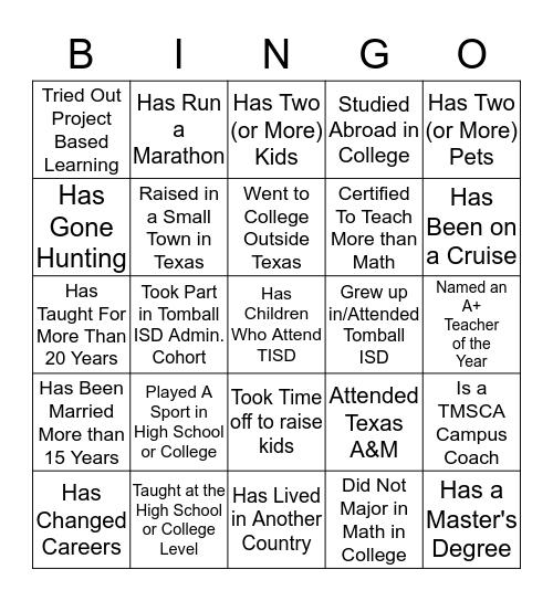 Pre-AP Math Bingo Card
