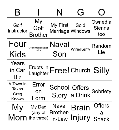 Texas Greg Bingo Card