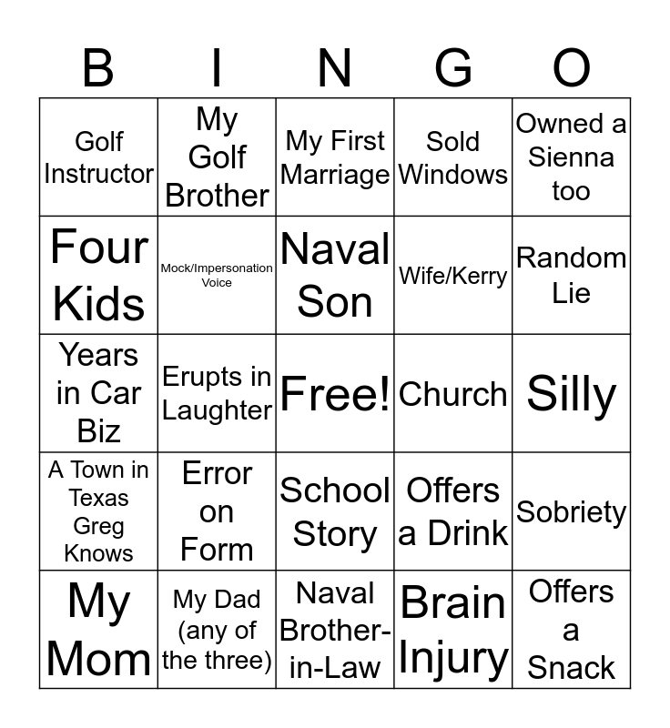 Texas Greg Bingo Card